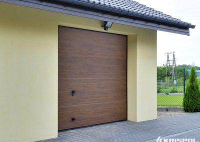 """KRISPOL Deckensektionaltor Standard """"Kleinsicke"""" Oberfläche Woodgrain Holzdekor Standardfarben mit Torsionsfederwelle K2 RC T 8"""