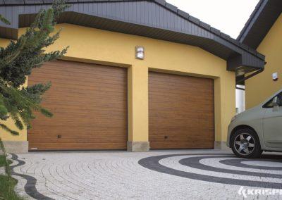 """KRISPOL Deckensektionaltor Standard """"Kleinsicke"""" Oberfläche Woodgrain Holzdekor Standardfarben mit Torsionsfederwelle K2 RC T 9"""