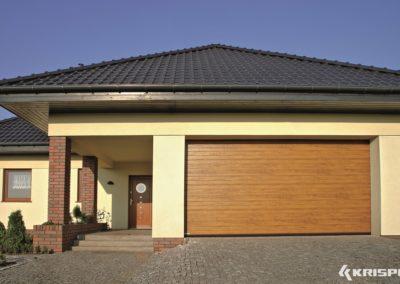 """KRISPOL Deckensektionaltor Standard """"Kleinsicke"""" Oberfläche Woodgrain Holzdekor Standardfarben mit Torsionsfederwelle K2 RC T 10"""
